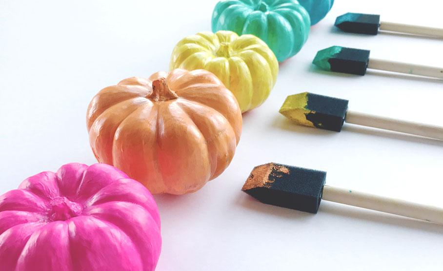painted rainbow pumpkins