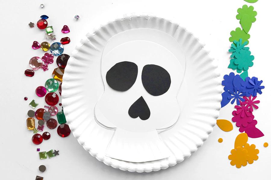 Supplies -Paper plates. & Día de los Muertos - Day of the Dead Sugar Skull Craft Ideas | OOLY