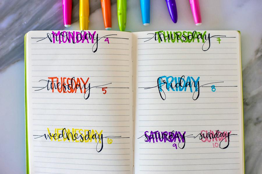 Backlit font written on DIY bullet Journal for weekly calendar