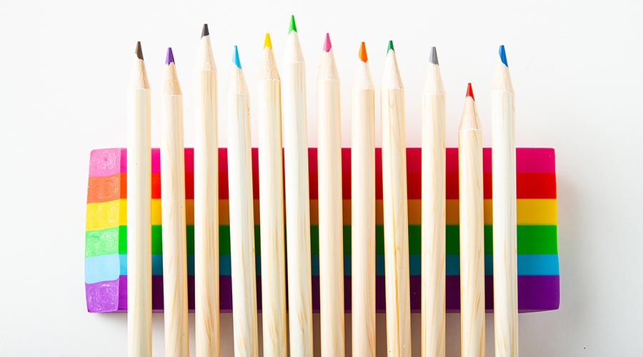 colorful pencils on rainbow eraser