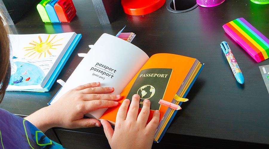 hands holding mini passport book open on dark surface
