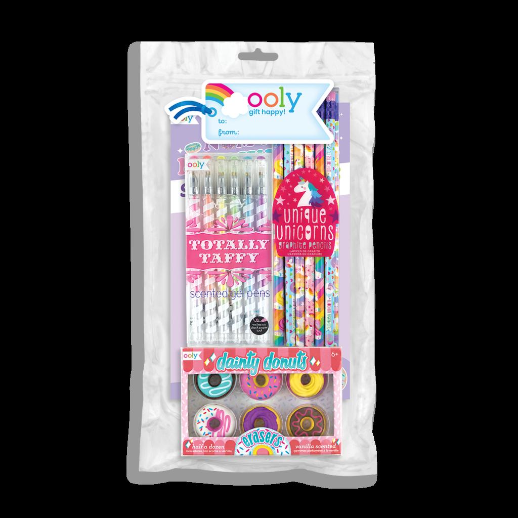 pink, dessert themed school supplies in bag
