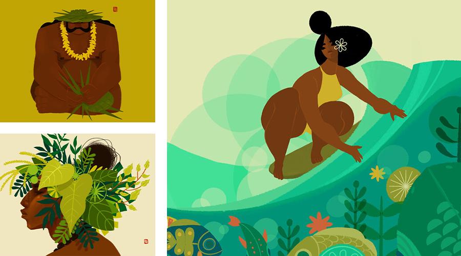 Grid of three artworks created by Shar Tuiasoa